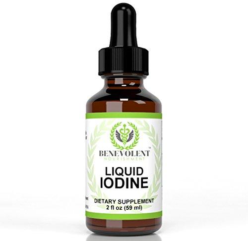 Complément alimentaire liquide iode (comme l'iodure de Potassium) de nourriture bienveillant. Gouttes de teinture naturelles absorbent rapidement. Puissant et Effective1300 portions par 2 oz bouteille.