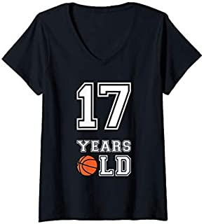 Womens 17 Years Old Basketball Birthday  Boy 17th Birthday V-Neck T-shirt | Size S - 5XL