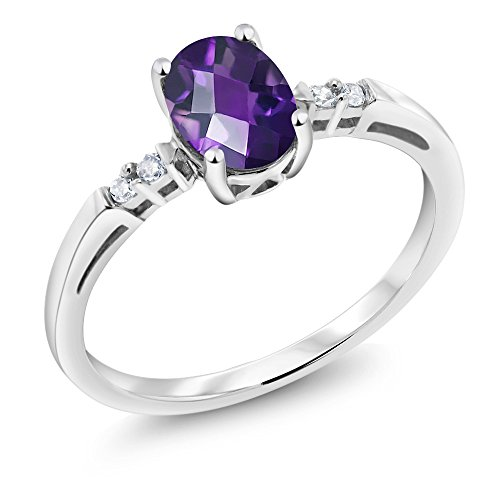 14K White Gold 0.78 Ct Oval Checkerboard Purple Amethyst White Diamond ()