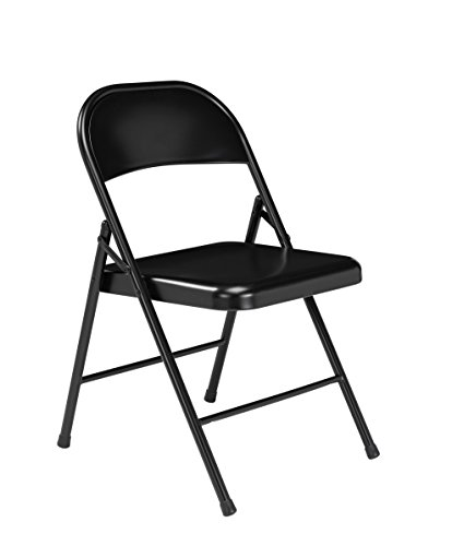 (4 Pack) National Public Seating 910 Commercialine Steel Folding Chair, Black