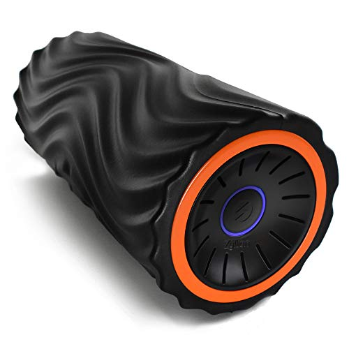 Zyllion Vibrating Foam Roller with 4 Intensity Settings - Rechargeable High Density Massager for Post Workout Muscle Recover, Myofascial Release, and Deep Tissue Massage, ZMA-22 (Orange/Black)