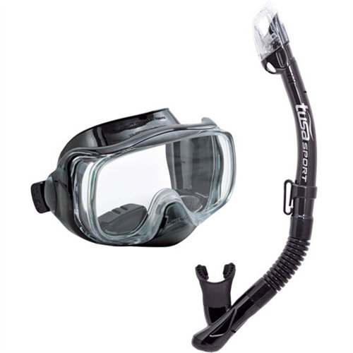 TUSA Sport Adult Imprex 3D Purge Mask and Dry Snorkel Combo, Black/Black (Mask Purge Valve Dive)