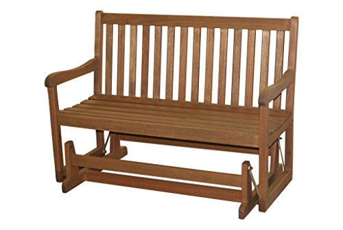Timbo Vila Rica Hardwood Outdoor Patio Double Glider, Double Glider, Brown