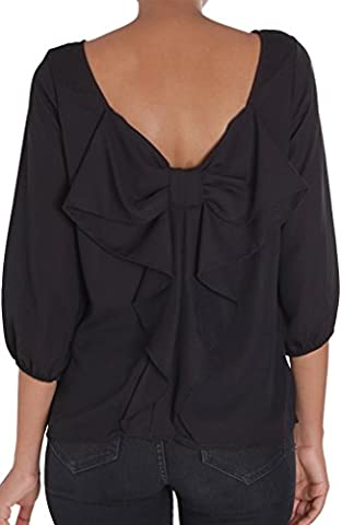 Humble Chic Bow Back Blouse - Long Sleeve Chiffon Top Backless Tunic Shirt, Black MEDIUM - Designer Sheer