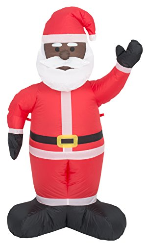 Inflatable Airblown Indoor and Outdoor Christmas Decoration (4 feet, Black Santa)