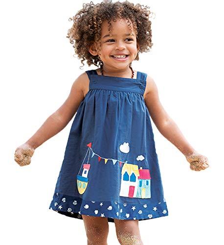 HILEELANG Toddler Girl Summer Tank Top Beach Dress Sleeveless Cotton Slip Skirt Reversible Dress Sundress 2-7 -