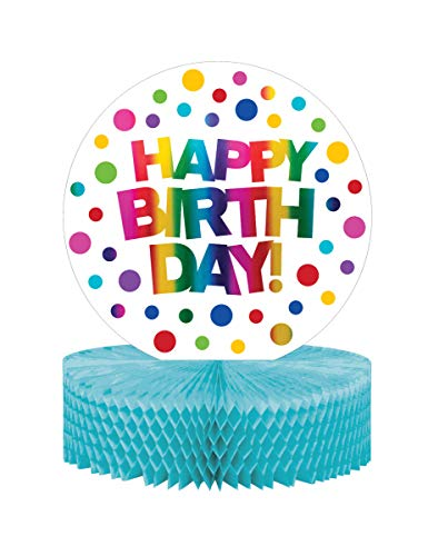 Creative Converting 331789 HONEYCOMB CENTERPIECE, RAINBOW FOIL BIRTHDAY, 13
