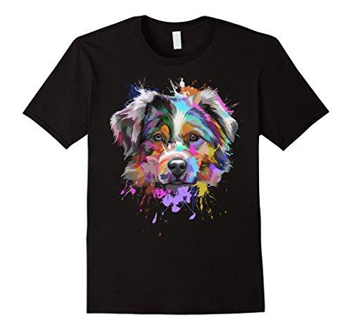 Mens Splash Art Australian Shepherd T-Shirt   Aussie Lover Gifts XL - Gift Australian Store