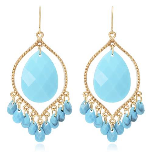 (Bohemian Multi Beads Tassel Chandelier Dangle Drop Earrings for Women)