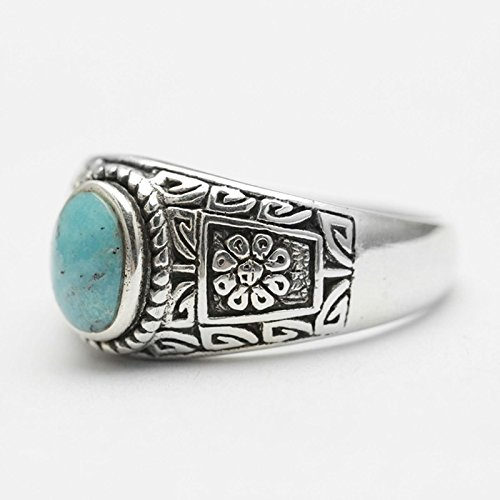 Bishilin Rings for Men Silver Plated Oval Turquoise with Totem Partner Rings Silver Size 12 by Bishilin (Image #2)