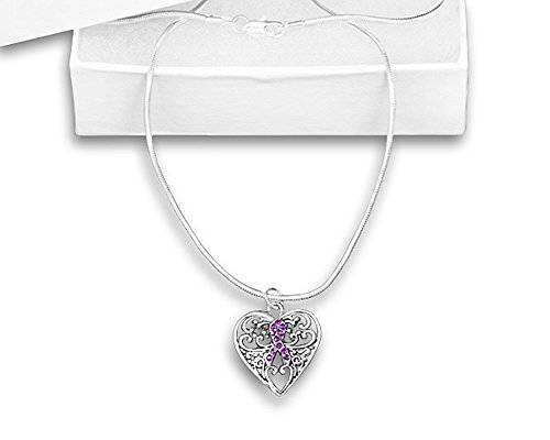 Purple Ribbon Necklace - Decorative Charm (Relay For Life Merchandise)