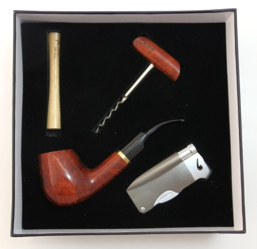 Tobacco Pipe Gift Set - Mr. Brog Gold Collection - Briar Pipe, Stand, Tamper, Lighter w Tool, Wine Opener - Hand Made - Pipe Tobacco Set