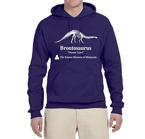 Brontosaurus Science Museum of Minnesota  Strange Fan   Mens Pop Culture Hooded Sweatshirt Graphic Hoodie, Purple, 3XL