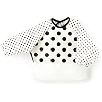 让宝宝更放心的进食围裙(长袖、日本制造) 防水 防漏 擦拭简单 立体口袋 polka dot large(broadcloth、white) B1004900 日本制造