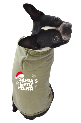 Santa Dog Tank - Ruff Ruff and Meow Dog Hoodie, Santas Little Helper, Green, Medium