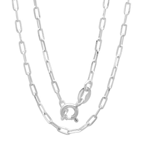 Boston Link Chain (Sterling Silver 2 mm Boston Link Chain Necklace, 18 Inch)
