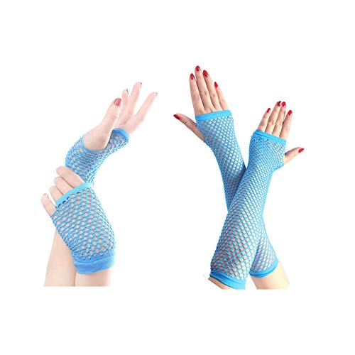 80s Fishnet Gloves for Women and Girls in Theme Party Costume Accessories (Lake Blue)