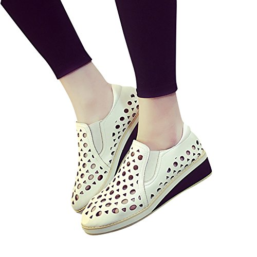 Charm Foot Womens Spring Summer Hollow out Mid Heel Loafers Shoes White IbjiwBN