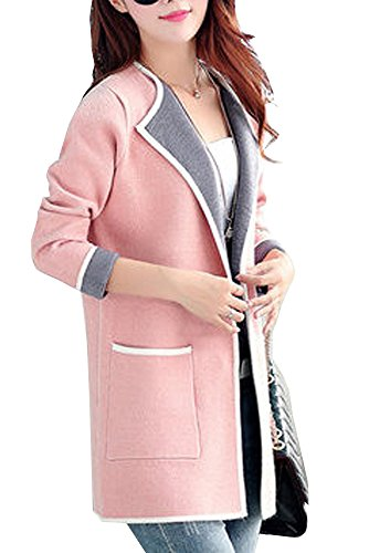 Olrain Women's Plus Size Knitted Cardigan Sweater Autumn Coats (X-Large, Pink) (Pink Coat)