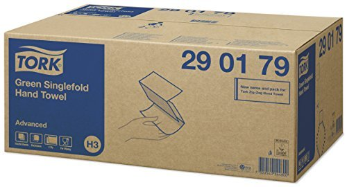 Tork 290179 Green Singlefold Hand Towel Advanced H3 / Soft Zigzagfold compatible with Tork H3 system / 15x 250 sheets (25 x 23 cm) by Tork