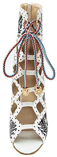 Calaier Femmes Catxic Ronde-orteil 11cm Stiletto Zipper Sandales Chaussures Noir