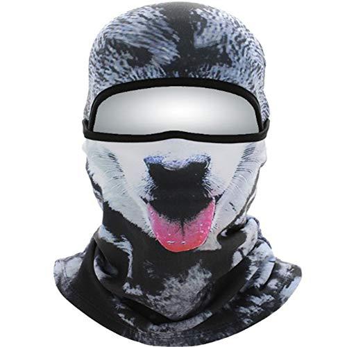 RANRANHOME 3D Animal Face Print Ski Balaclava Máscara De Ciclismo De Cara Completa Máscara De Esquí Casco Cálido, Unisex,Black