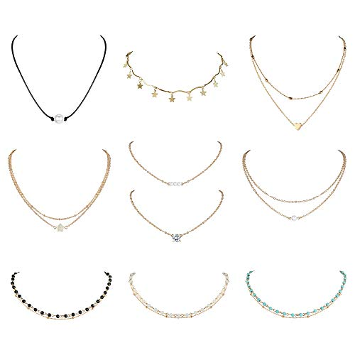 Finrezio 10 PCS Choker Necklace for Women Girls Dainty Layered Gold Chain Lucky Star Heart Pearl Turquoise Bead Necklaces Set