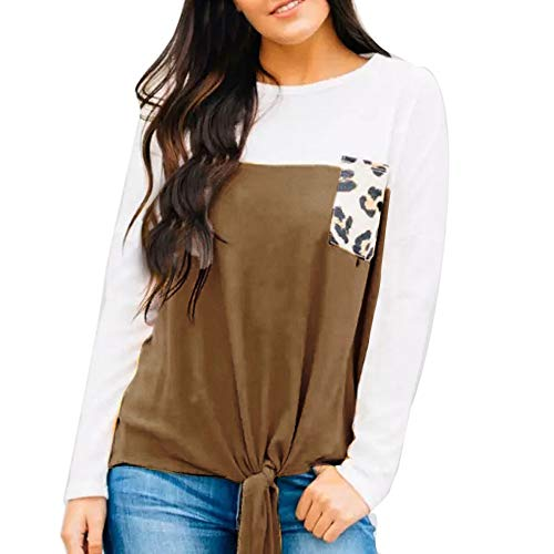 DEATU Sale Womens Loose Shirts Tie Knot Henley Tops Leopard Pocket Casual Shirts Blouse(Khaki,Small