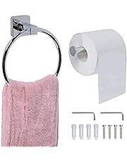 SPDYCESS 2 Delige Toiletpapierrolhouder en Handdoekenrek aan de Muur Gemonteerd - Roestvrijstalen Badkamerkeukenaccessoireset, Zilver Geborstelde Afwerking