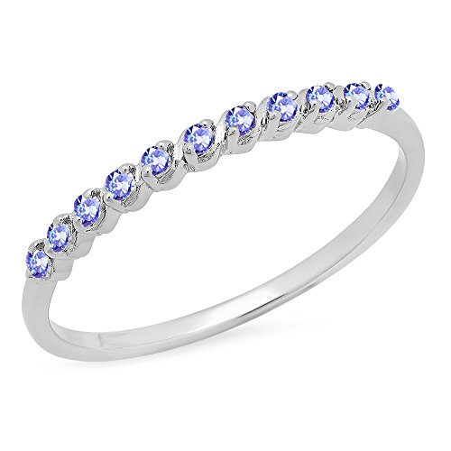0.12 Carat (ctw) Sterling Silver Round Tanzanite Ladies Wedding Stackable Band (Size 7) (Ct 0.12 Natural)
