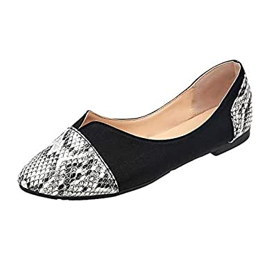 Cimaybeauty Women's Shallow Mouth All-Match Comfortable Shoes Leopard Snake Print Flat Shoes Wild Single Shoes White