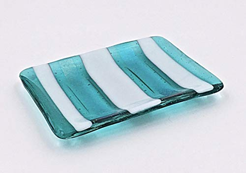 Aquamarine Fused Glass Soap or Sponge Dish Kitchen or Bath Accessory