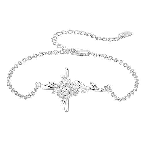 CUOKA MIRACLE Cross Bracelet, S925 Sterling Silver Rose Flower Bracelet Crucifix Bracelet Religious Gifts for Women Teen (White Gold Bracelet)
