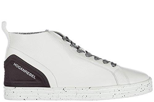 Hogan Rebel Signore Calza I Pattini Di Cuoio Alte Scarpe Da Tennis Delle Donne R182 Metà Tagliati Bianco