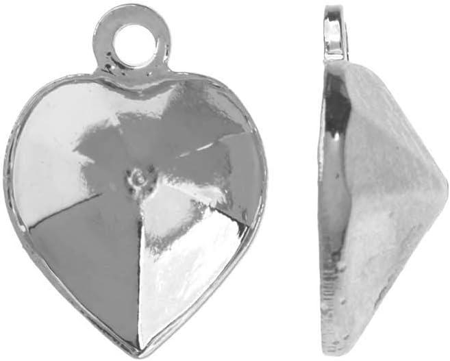 Swarovski Ajuste de Colgante de Piedra Cristal, se Adapta al corazón # 4884 de 8,8x8 mm, 2 Piezas, Chapado en rodio