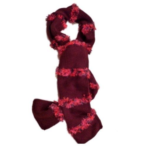 Fownes Womens Burgundy Scarf Pink Feather Yarn Fringe