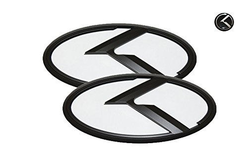 3D K Logo Emblem White & Black Edition Set 3pc Front + Rear + Mini Sticker (Fit: KIA 2017+ All New Sportage QL)