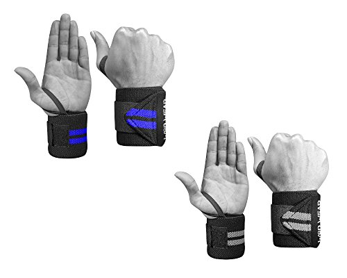Wrist Wraps - Professional Fitness Elastic 18 Inch Pair of Two for Powerlifting, Bodybuilding, Weight Lifting, Cross-Training Wrist Supports for Weight Training (2 Pack - Gray-Blue) (Best Way To Train Forearms)
