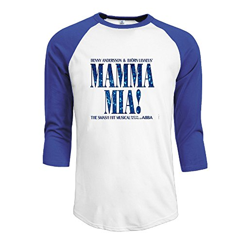 Men's Mamma Mia 100% Cotton 3/4 Sleeve Athletic Baseball Raglan Shirt RoyalBlue US Size XL