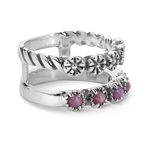 American West - Sterling Silver and Purple Spiny Oyster Split Band Ring - 6 - American West Collection ()