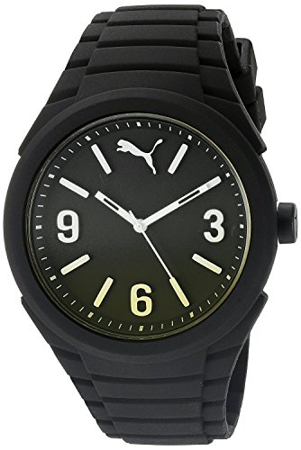 PUMA Gummy Men's Quartz Watch with Black Dial Analogue Display and Black Silicone Strap PU103592010