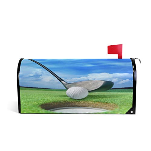 Golf Ball On Lip Near Bunker Welcome Large Magnetic Mailbox Post Box Cover Wraps, Grass and Blue Sky Oversized Makover MailWrap Garden Home Decor