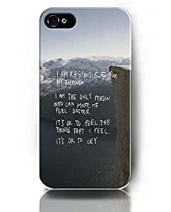 UKASE Cases with Inspiring Picture Life Quotes for iPhone 5/5S - Men Seating On The Cliff - I Am Respinsible For My Happiness. I Am The Only Person Who Can Make Me Feel Better. It'S Ok To Feel The Things That I Feel. It'S Ok To Cry