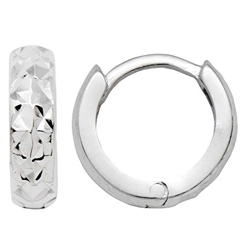 14k Gold Diamond-Cut Reversable Tiny Huggie Hoop Earrings (3mm Thick), 10.8mm (14k White Gold) ()