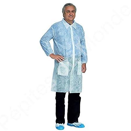 Bata de protección blanca desechable talla XL botones presión la bata de protección - pdm-pfl04 by Pépites del mundo: Amazon.es: Salud y cuidado personal