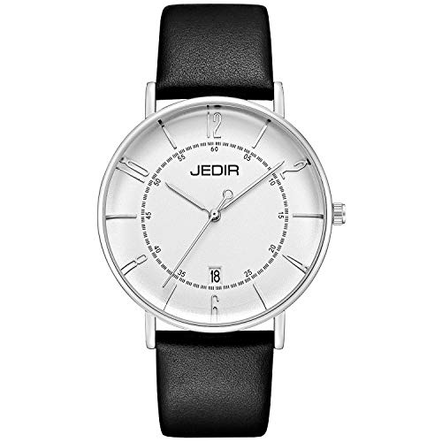 - JEDIR Men Classic Simple Slim Quartz Wrist Watch Big Dial Calendar Number Mesh&Leather Band (Black)