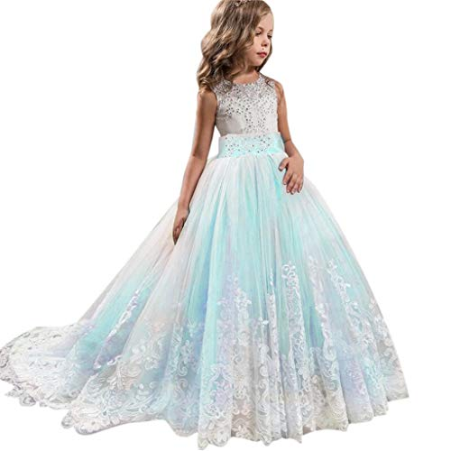 ❤️ Mealeaf ❤️ _ Girl Ball Gown Gauze Sleeveless Lace Princess Flower Girl Pageant Wedding Party Long Dresses -