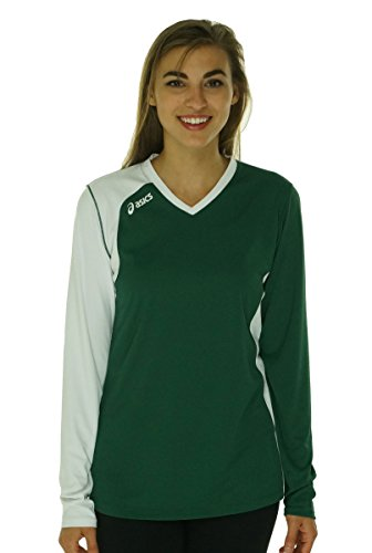 Asics Athletic Jersey - ASICS Women's Digg Long Sleeve Jersey, Forest/White, X-Large