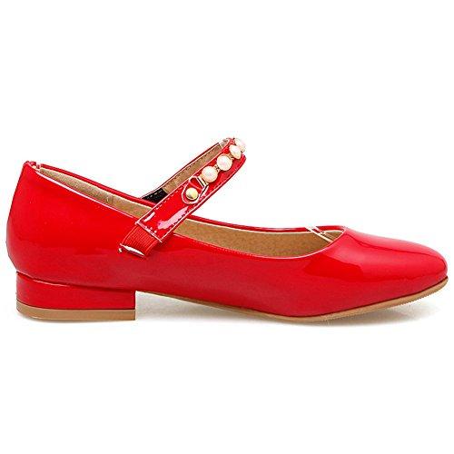 Mujer Red Material de Zapatos KingRover Sintético Tacón de WwqSYRxz