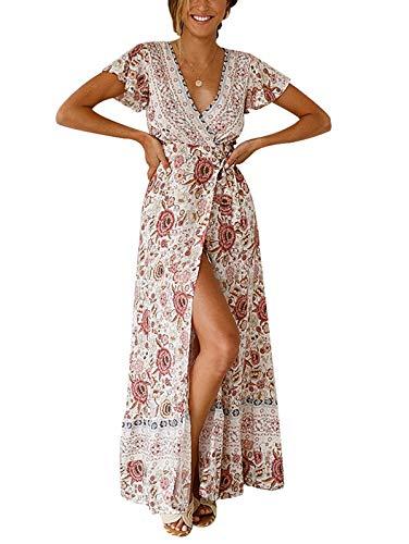TEMOFON Women's Dresses Bohemian Floral Printed Summer Casual Short Sleeve V-Neck High Split Ethnic Maxi Dress Beige S